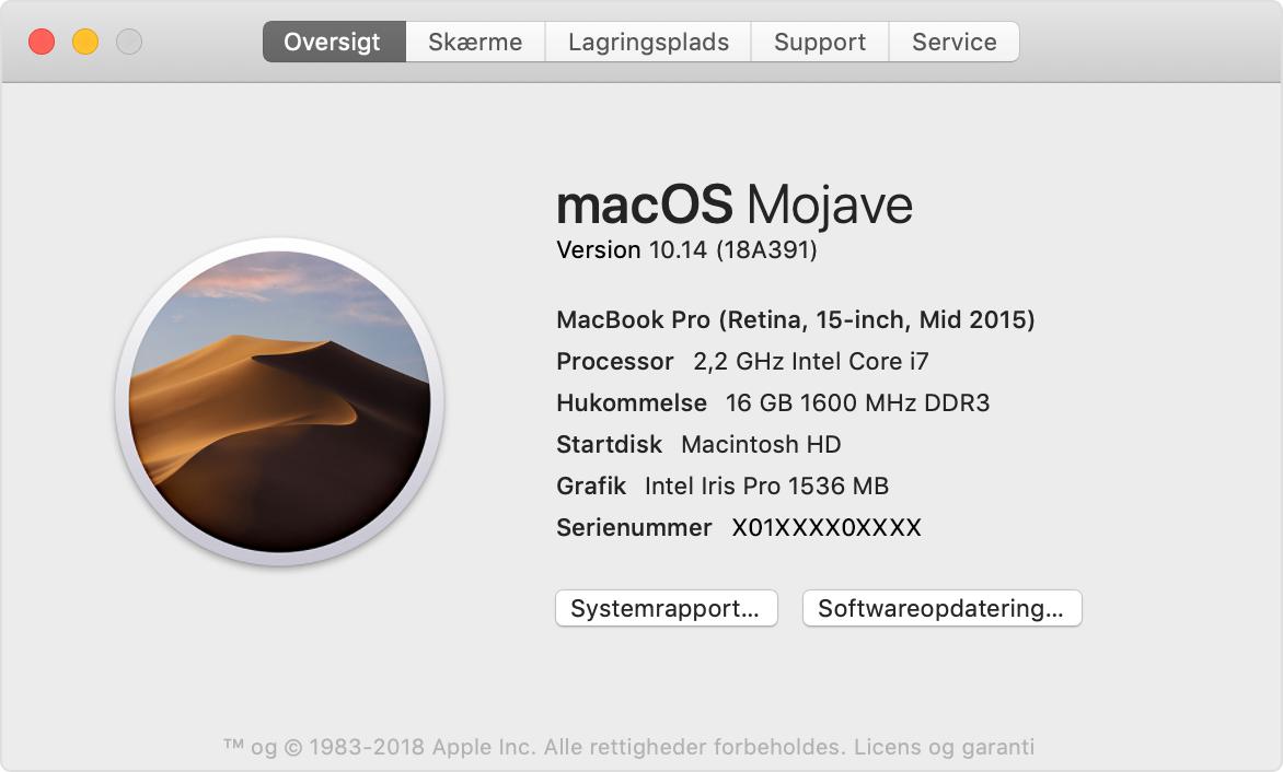 Tjekke macOS version