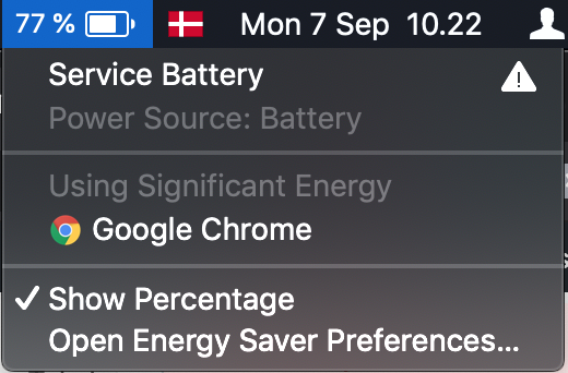 Service batteri på Mac